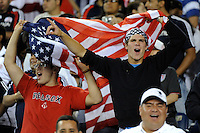 United States (USA) fans celebrate the game tying goal. The United States and Haiti played to a 2-2 tie during a CONCACAF Gold Cup Group B group stage match at Gillette Stadium in Foxborough, MA, on July 11, 2009. .