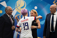 LYON, FRANCE - JULY 07: Megan Rapinoe and Kristine Lilly during a game between Netherlands and USWNT at Stade de Lyon on July 07, 2019 in Lyon, France.