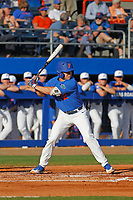 University of Florida Gators infielder Blake Reese (12) at bat during a game against the Siena Saints at Alfred A. McKethan Stadium in Gainesville, Florida on February 17, 2018. Florida defeated Siena 10-2. (Robert Gurganus/Four Seam Images)