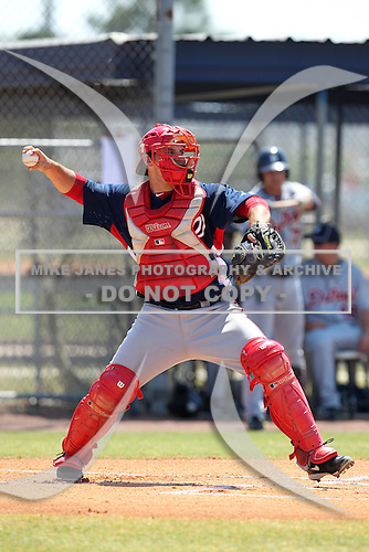 Washington Nationals catcher Derek Norris #18 throws down to second during a spring training game against the Baltimore Orioles at the Spacecoast Stadium Training Complex on March 27, 2011 in Melbourne, Florida.  Photo By Mike Janes/Four Seam Images