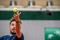 30th September 2020, Roland Garros, Paris, France; French Open tennis, Roland Garr2020; Stan WAWRINKA SUI serves during his match against Dominik KOEPFER GER in the Suzanne Lenglen court on the second round of the French Open