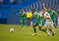 03 August 2010 Inter Milan forward Goran Pandev No. 27 and Panathinaikos FC defender Simao Mate Junior No.23 in action during an international friendly  between Inter Milan FC and Panathinaikos FC at the Rogers Centre in Toronto..