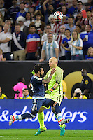 Houston, TX - Tuesday June 21, 2016: Brad Guzan, Gonzalo Higuain during a Copa America Centenario semifinal match between United States (USA) and Argentina (ARG) at NRG Stadium.