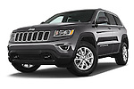 Stock pictures of low aggressive front three quarter view of a 2014 JEEP Grand Cherokee Laredo 5 Door SUV Low Aggressive