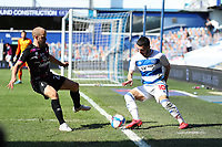 24th April 2021; The Kiyan Prince Foundation Stadium, London, England; English Football League Championship Football, Queen Park Rangers versus Norwich; Ilias Chair of Queens Park Rangers competes for the ball with Teemu Pukki of Norwich City