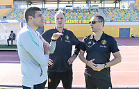 20200307  Parchal , Portugal : Portugese head coach Francisco Neto pictured in talks with Belgian assistant coach Kris Van Der Haegen and Belgian head coach Ives Serneels during the female football game between the national teams of Belgium called the Red Flames and Portugal on the second matchday of the Algarve Cup 2020 , a prestigious friendly womensoccer tournament in Portugal , on saturday 7 th March 2020 in Parchal , Portugal . PHOTO SPORTPIX.BE | DAVID CATRY