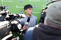 TUKWILA, WA - NOVEMBER 08: Kim Kee-hee #20 of the Seattle Sounders FC talks to the media at Starfire Sports Complex on November 08, 2019 in Tukwila, Washington.
