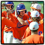 James Parker (15) of the Clemson Tigers is greeted after hitting a two-run home run to help Orange win 3-1 in Game 2 of the Orange-Purple intrasquad scrimmage series on Saturday, November 21, 2020, at Doug Kingsmore Stadium in Clemson, South Carolina. (Tom Priddy/Four Seam Images) #Clemson