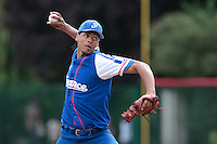 13 July 2010: Arold Castillo of Team France talks to the umpire as he pitches against Team Saint Martin during day 1 of the Open de Rouen, an international tournament with Team France, Team Saint Martin, Team All Star Elite, at Stade Pierre Rolland, in Rouen, France.