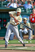 Northwest League All-Star Gio Brusa (29) of the Salem-Keizer Volcanoes at bat during the Home Run Derby at the 2nd Annual Northwest League-Pioneer League All-Star Game at Lindquist Field on August 2, 2016 in Ogden, Utah. Brusa went on to win the title. The Northwest League defeated the Pioneer League 11-5. (Stephen Smith/Four Seam Images)