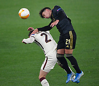 Football: Europa League - quarter final 2nd leg AS Roma vs Ajax, Olympic Stadium. Rome, Italy, March 15, 2021.<br /> Ajax's Lisandro Martínez (R) in action with Roma's Borja Mayoral (L) during the Europa League football match between Roma at Rome's Olympic stadium, Rome, on April 15, 2021.  <br /> UPDATE IMAGES PRESS/Isabella Bonotto