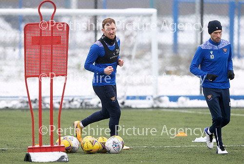 St Johnstone Training...   21.01.21<br />Liam Craig pictured with David Wotherspoon during training at McDiarmid Park ahead of Saturday's BetFred Cup semi-final against Hibs at Hampden.<br />Picture by Graeme Hart.<br />Copyright Perthshire Picture Agency<br />Tel: 01738 623350  Mobile: 07990 594431