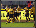 18/01/2003                   Copyright Pic : James Stewart.File Name : stewart-alloa v qots20.STEVE THOMSON (SECOND RIGHT) IS CONGRATULATED BY TEAM MATES AFTER HE SCORED ALLOA'S THIRD.......James Stewart Photo Agency, 19 Carronlea Drive, Falkirk. FK2 8DN      Vat Reg No. 607 6932 25.Office     : +44 (0)1324 570906     .Mobile  : +44 (0)7721 416997.Fax         :  +44 (0)1324 570906.E-mail  :  jim@jspa.co.uk.If you require further information then contact Jim Stewart on any of the numbers above.........