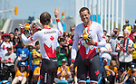 MILTON, ON, AUGUST 13, 2015. Cycling time trials, including Canadian Gold medalists Daniel Chalifour & Alexandre Cloutier (Mixed B).<br /> Photo: Dan Galbraith/Canadian Paralympic Committee