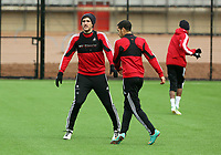 Tuesday 15 January 2013<br /> Pictured: Danny Graham (L)<br /> Re: Swansea City FC training near the Liberty Stadium ahead of their Cup game against Arsenal at the Emirates Stadium.