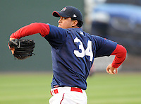 April 7, 2009: Yeiper Castillo of the Greenville Drive pitches in a game against Wofford College on Tuesday, April 7, 2009, at Fluor Field in Greenville. Photo by:  Tom Priddy/Four Seam Images
