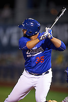 Tulsa Drillers catcher Shawn Zarraga (35) at bat during a game against the Midland RockHounds on June 2, 2015 at Oneok Field in Tulsa, Oklahoma.  Midland defeated Tulsa 6-5.  (Mike Janes/Four Seam Images)