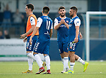 Montrose v St Johnstone….16.07.19      Links Park     Betfred Cup       <br />Martin Rennie, Lewis Milne, Andrew Steeves and Liam Callaghan celebrate at full time<br />Picture by Graeme Hart. <br />Copyright Perthshire Picture Agency<br />Tel: 01738 623350  Mobile: 07990 594431