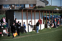 The covered area at Peasedown Athletic FC Football Ground, Miners Welfare Field, Peasedown St John, Somerset, pictured on 31st March 1997