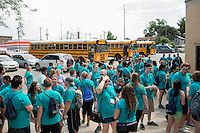 """Members gather for lunch during """"Circle the City with Service,"""" the Kiwanis Circle K International's 2015 Large Scale Service Project, on Wednesday, June 24, 2015, in Indianapolis. (Photo by James Brosher)"""