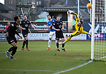 Dundee v St Johnstone…29.12.18…   Dens Park    SPFL<br />Jack Hamilton is helpless as Scott Tanser's cross goes ver his head to give saints the lead<br />Picture by Graeme Hart. <br />Copyright Perthshire Picture Agency<br />Tel: 01738 623350  Mobile: 07990 594431
