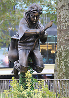 A new Harry Potter Quidditch statue in Leicester Square, London which has joined the eight other movie statues in the 'Scenes in the Square'. London October 14th 2020<br /> <br /> Photo by Keith Mayhew