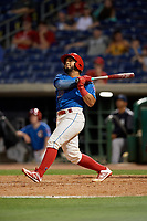 Clearwater Threshers Rodolfo Duran (19) bats during a Florida State League game against the Tampa Tarpons on April 18, 2019 at Spectrum Field in Clearwater, Florida.  Clearwater defeated Tampa 10-3.  (Mike Janes/Four Seam Images)