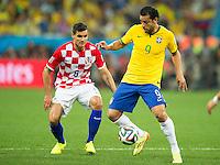 Fred of Brazil and Dejan Lovren of Croatia