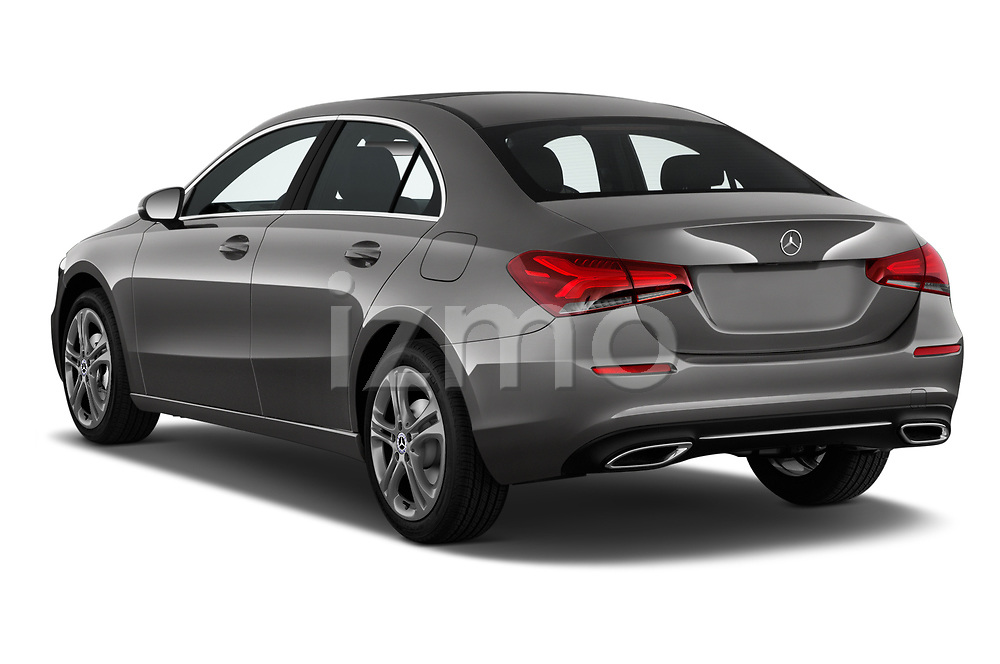 Car pictures of rear three quarter view of 2019 Mercedes Benz A-Class A-200 4 Door Sedan Angular Rear