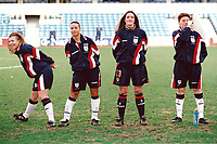 England players warm up in front of a new British record crowd of 4,917 during England Women vs Germany Women, World Cup Qualifying Football at the New Den, Millwall FC, London, Britain on 8th March 1998
