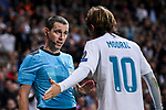Assistant referees Tomasz Listkiewicz (L) talks with Luka Modric of Real Madrid (R) during the UEFA Champions League 2017-18 match between Real Madrid and Tottenham Hotspur FC at Estadio Santiago Bernabeu on 17 October 2017 in Madrid, Spain. Photo by Diego Gonzalez / Power Sport Images
