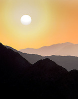 Hills of the  Santa Rosa and San Jacinto Mountains National Monument and sunset, California