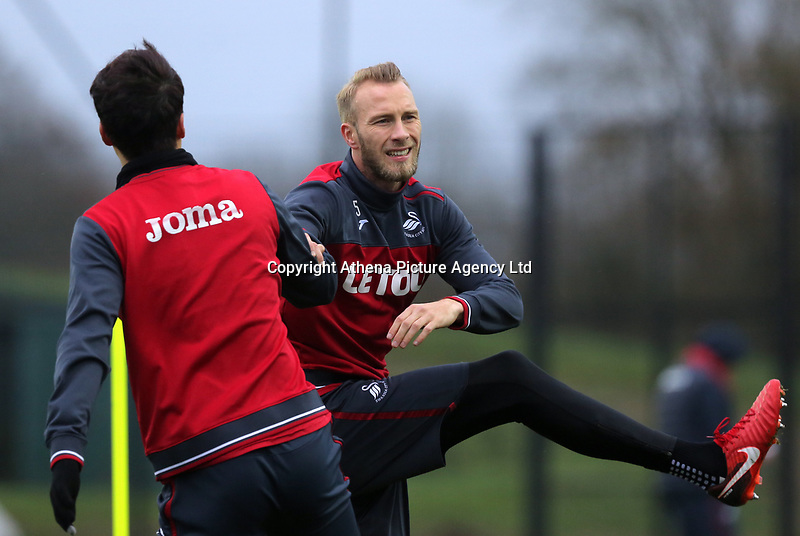Ki Sung-Yueng and Mike van der Hoorn warm up during the Swansea City Training at The Fairwood Training Ground, Swansea, Wales, UK. Wednesday 22 November 2017