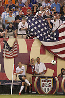 USA forward Landon Donovan (10) takes a corner kick. The men's national teams of the United States and Argentina played to a 0-0 tie during an international friendly at Giants Stadium in East Rutherford, NJ, on June 8, 2008.