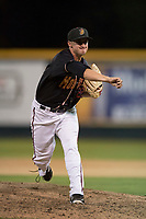 Modesto Nuts relief pitcher Michael Koval (22) follows through on his delivery during a California League game against the Lake Elsinore Storm at John Thurman Field on May 11, 2018 in Modesto, California. Modesto defeated Lake Elsinore 3-1. (Zachary Lucy/Four Seam Images)