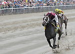 It's Tricky, ridden by Eddie Castro, rolls to victory in the TVG Acorn Stakes at Belmont Park on Belmont Stakes Day on June 11, 2011.