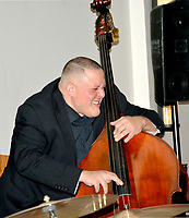Janelle Jessen/Herald-Leader<br /> Kyth Trantham plays the bass with the Burson-Harris Quartet during Jazz at the Springs on Saturday evening. The event served as a fundraiser for Siloam Springs Center for the Arts.