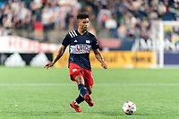 FOXBOROUGH, MA - JULY 7: Brando Bye #15 of New England Revolution passes the ball during a game between Toronto FC and New England Revolution at Gillette Stadium on July 7, 2021 in Foxborough, Massachusetts.