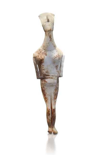 Female Cycladic statue figurine with folded arms of the Spedos and Dokathismata type. Early Cycladic Period II (2800-3200) from Amorgos. National Archaeological Museum, Athens.   White background.<br /> <br /> <br /> This Cycladic statue figurine is of the Spedos type standing on tip tie with bended knees and arms folded under the breasts with head raiised. This staue belongs to the Dokathismata type of Amorgos with an angular face, wide chest and slender outline.