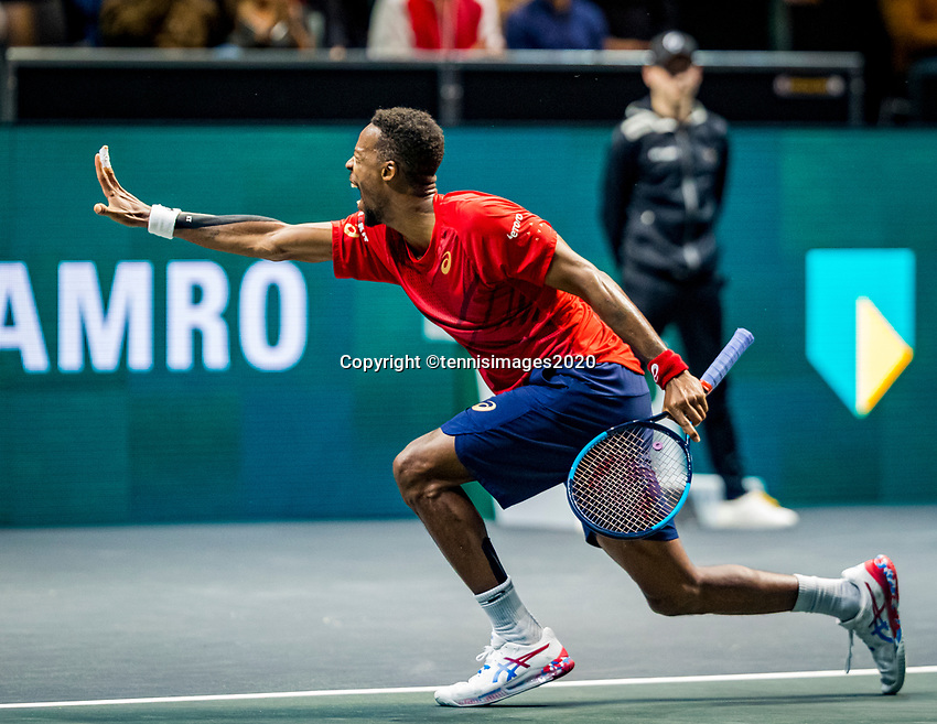 Rotterdam, The Netherlands, 16 Februari 2020, ABNAMRO World Tennis Tournament, Ahoy,<br /> Mens Single Final: Gaël Monfils (FRA) at matchpoint when he wins the tournament<br /> Photo: www.tennisimages.com