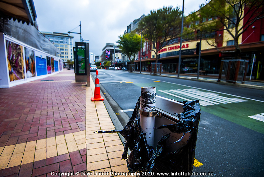 Courtenay Place at 2pm, Monday during lockdown for the COVID19 pandemic in Wellington, New Zealand on Monday, 27 April 2020. Photo: Dave Lintott / lintottphoto.co.nz