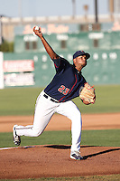 Joshua James (23) of the Lancaster JetHawks pitches against the Visalia Rawhide at The Hanger on July 6, 2016 in Lancaster, California. Lancaster defeated Visalia, 10-7. (Larry Goren/Four Seam Images)