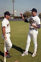 Boston Red Sox coach Gary Allenson and pitcher Roger Clemens during spring training circa 1991 at Chain of Lakes Park in Winter Haven, Florida.  (MJA/Four Seam Images)
