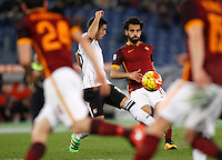 Calcio, Serie A:  Roma vs Palermo. Roma, stadio Olimpico, 21 febbraio 2016. <br /> Roma's Mohamed Salah kicks the ball during the Italian Serie A football match between Roma and Palermo at Rome's Olympic stadium, 21 February 2016.<br /> UPDATE IMAGES PRESS/Riccardo De Luca