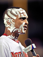30 September 2009: Washington Nationals' outfielder Justin Maxwell is interviewed with shaving cream on his face after a game against the New York Mets at Nationals Park in Washington, DC. The Nationals rallied in the bottom of the 9th inning on Maxwell's walk-off Grand Slam to win 7-4 and sweep the Mets 3-game series capping the Nationals' 2009 home season. Mandatory Credit: Ed Wolfstein Photo