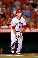 Mike Trout #27 of the Los Angeles Angels bats against the Texas Rangers at Angel Stadium on September 20, 2012 in Anaheim, California. Texas defeated Los Angeles 3-1. (Larry Goren/Four Seam Images)