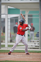 Boston Red Sox Josh Ockimey (18) bats during a minor league Spring Training intrasquad game on March 31, 2017 at JetBlue Park in Fort Myers, Florida. (Mike Janes/Four Seam Images)