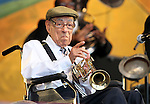 NEW ORLEANS, LA - MAY 06: Musician Lionel Ferbos performs with the Preservation Hall Jazz Band during the 2012 New Orleans Jazz & Heritage Festival at the Fair Grounds Race Course on May 6, 2012 in New Orleans, Louisiana.