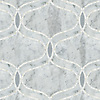 Ursula, a natural stone waterjet and hand-cut mosaic shown in Carrara,  honed Bardiglio and polished Calacatta Tia, is part of the Silk Road® collection by New Ravenna.