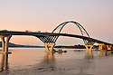 Dusk at the newly constructed Champlain Bridge in Addison, Vermont.